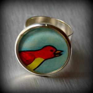 El pajero Mexican loteria silver plate adjustable ring