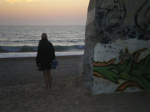 Sunset by a bunker at Labenne Ocean