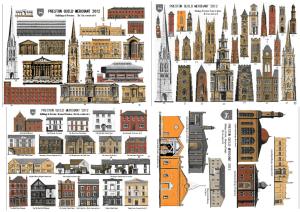 Buildings in Preston postcard by WED Ryan