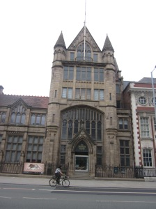 Gothic exterior of Manchester Museum. Due to my wonky donkey camera angle it looks like it is situated on an incline. It isn't.