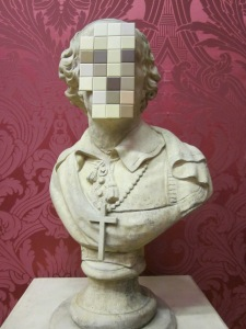 Bust of a priest (defaced) Banksy