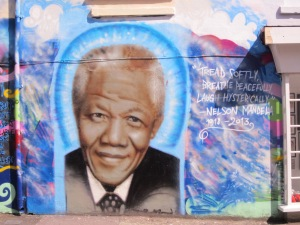 Req's mural of Nelson Mandela at the Art Schism gallery, Gloucester road, Brighton